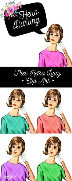 clip art freebies Free Retro Lady Clip Art: How about some pretty retro lady clip art for you today? They come in 5 different fun shades for you to pick and choose the perfect one for Reset Girl, Owl Clip Art, Vintage Images, Vintage Clip Art, Retro Images, Retro Girls, 1 Image, Retro Art, Wedding Humor