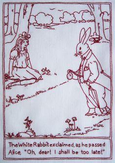 Alice in Wonderland in vintage redwork embroidery