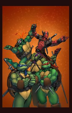 Why, exactly, is Michelangelo holding hands with Deadpool? O.o