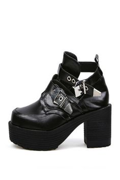 Vintage Black Punk Buckle Motorcycle Heeled Platform Shoes . Free 3-7 days expedited shipping to U.S. Free first class word wide shipping. Customer service: help@moooh.net