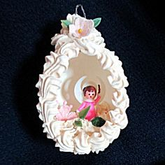 1960s Eggshell Angel Diorama Scene Easter Christmas Ornament