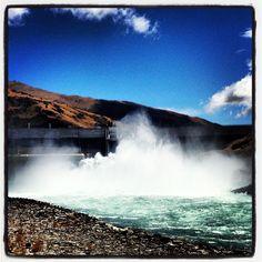 Clyde Dam, gates open!