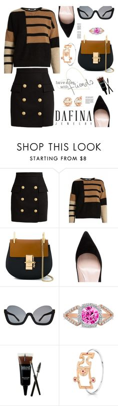 """DafinaJewerly.com nº2:"" by hamaly ❤ liked on Polyvore featuring Balmain, MaxMara, Chloé, Kate Spade, outfit, ootd, jewerlry and dafinajewerly"