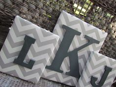 Nursery Letters, 3 Piece Letter Set, Gray Nursery, Georgia Nursery, Gray Chevron, Framed Monogram, Painted Letters, Wall Letters. $65.00, via Etsy.