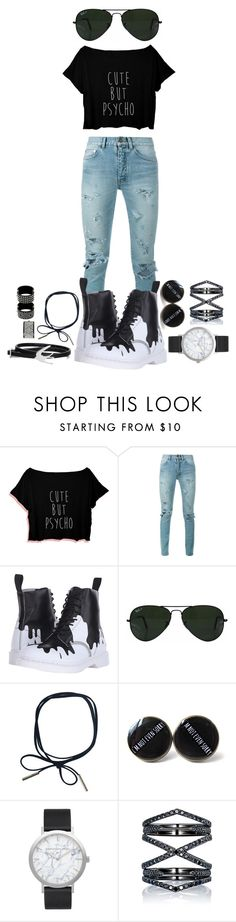 """""""Cute but psycho"""" by galaxygirl12427 ❤ liked on Polyvore featuring Yves Saint Laurent, Dr. Martens, Ray-Ban, Elwood, Eva Fehren, McQ by Alexander McQueen and Chanel"""