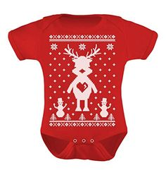 TeeStars  Reindeer Love Ugly Christmas Sweater Cute Xmas Bodysuit Baby Onesie 12M Red ** Check out this great product.