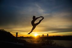 """""""Dancers capture passion with their bodies"""" #refinery29  http://www.refinery29.com/dancers-among-us-new-york-photographs#slide-6  """"I don't shoot many silhouettes, but this sunset over the iconic George Washington Bridge was too tempting to resist. Jacob Speakman stripped down to a dance belt in the middle of winter for this shot, and he kept jumping off a tall ledge until we got the perfect placement of the sun.""""..."""