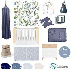 Pozwól się zainspirować i otul pokój dziecka pięknymi oryginalnymi produktami. Tablica inspiracji w kolorze navy blue: białe mebelki w połączeniu z naturalnym drewnem, pościel i akcesoria z lnu, metalowa lampa i półka - więcej pomysłów na nietuzinkowe wnętrze dla dziecka znajdziesz na tuliroom.pl Pantone 2020, Entryway, Drinks, Furniture, Home Decor, Food, Entrance, Drinking, Main Door
