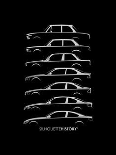 Bavarian Dreier Coupes SilhouetteHistory Silhouettes of the mid-category BMW two-door cars: 2002 and Coupe M2 Bmw, Car Drawings, Great Artists, Sketches, Framed Prints, E30, Motors, Automobile, Design