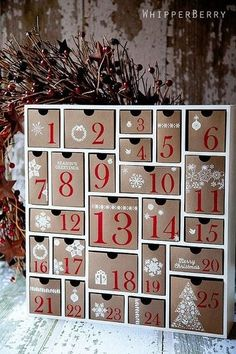 Craft a Christmas advent calendar one that will become a real treasure in the years to come. Use one of our Fun Christmas Crafts With 50 Great Homemade Advent Calendars Ideas and have some fun. Cool Advent Calendars, Homemade Advent Calendars, Wooden Advent Calendar, Diy Calendar, Calendar Numbers, Calendar Board, Wall Calendars, Countdown Calendar, Calendar Design