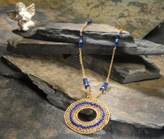 ISIS+Pendant+round+gold+filled+lapis+lazuli+OOAK+by+7artjewelry