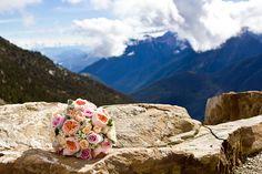 Peach wedding bouquet kicking horse mountain resort wedding