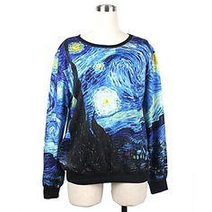 Women's O-neck Loose Casual Blue Van Gogh Painting Print Long Sleeve Sweatshirts - USD $ 23.09