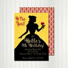 Invitación de Belle, Belle silueta, cumpleaños Belle, Belle partido, invitación princesa, princesa partido, belleza y la invitación de la bestia