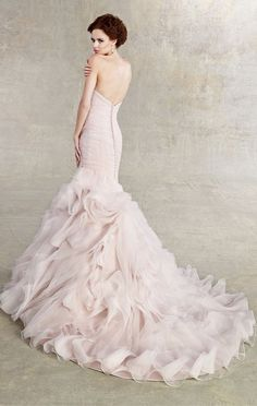 Blush pink Kitty Chen wedding gown. The Wedding Scoop Spotlight: Coloured and Non-white Wedding Dresses