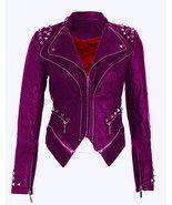 New Woman WWE Paige Purple Silver Studded Punk Cowhide Leather Jacket 2019 - $289.99+