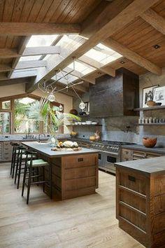 Luxury Kitchen Design, Dream Home Design, Kitchen Interior, Home Interior Design, Interior Ideas, Industrial Home Design, Rustic Home Design, Industrial House, Unique Home Designs