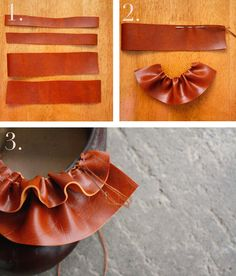 sewing leather ruffles on shoes
