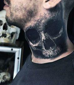 skull neck tattoo 3d