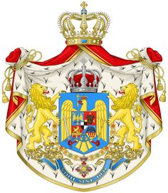 The great coat of arms used by the Royal House, and on international documents (Ministry of Foreign Affairs) Michael I Of Romania, History Of Romania, Romania People, Romanian Royal Family, Elisabeth I, Kingdom Of Italy, National Symbols, Casa Real, Axis Powers
