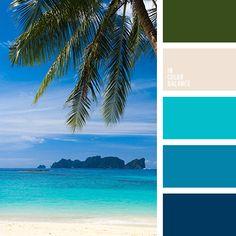 azul oscuro, azul oscuro fuerte, azul turquí, celeste, celeste vivo, color agua oceánica, color aguamarina, color arena, color azul aguamarina, color hoja de palmera, color verde agua, matices del azul oscuro, verde, verde oscuro.