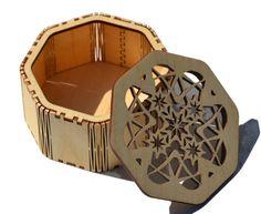 Laser cut Octagonal Star Box made from Baltic by CedarStreetDesign