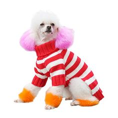BINGPET Red White Striped Fashion Cute Dog Sweater For Winter XL