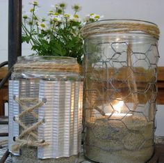 DIY Jars are given new life with chicken wire, twine, metal, etc....TUTORIAL