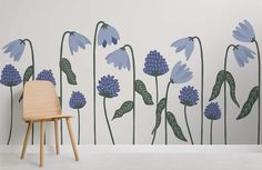 Incorporate our Bluebells Floral Wallpaper Mural into your child's playroom and they will love spending time in their very own cheerful space. The blues and greens in this wallpaper create a natural vibe while adding a fresh touch of design to the room that will inspire little minds.