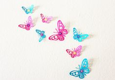 3d Butterfly Wall Art Nursery Room Decor Pink And Aqua Wall Art