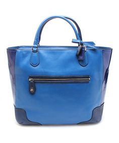 Love this Victorian Blue Poppy Leather Tote by Coach on #zulily! #zulilyfinds