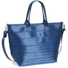Women's Harveys 'Medium Streamline' Seatbelt Tote (380 BRL) ❤ liked on Polyvore featuring bags, handbags, tote bags, handbags totes, blue tote handbags, strap purse, tote bag purse and blue handbags