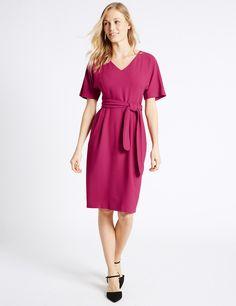 Kimono Tie Short Sleeve Shift Dress   Marks & Spencer