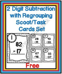 Here is a set of two-digit with regrouping scoop/task cards. These cards are perfect for center work and for playing Scoot. Math Tutor, Teaching Math, Guided Maths, Math Education, Teaching Tools, Teaching Ideas, Fun Math, Math Activities, Maths Resources