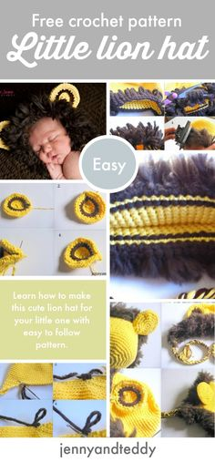 free crochet lion hat pattern for newborn baby to 3 months old beginner friendly go to get the very detail photo tutorial on the blog.
