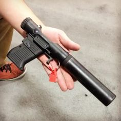 """Such a novelty handgun, but, of course, I want it! ____________________________________________ B&T bringing back the Welrod pistol used by the OSSIt's called the VP9, nicknamed the """"veterinarian pistol""""."""