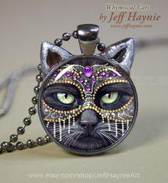 CAT NECKLACE // Black Cat pendant // Halloween by JeffHaynieArt