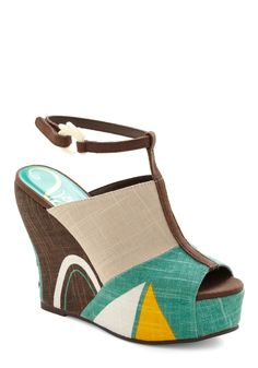 All Shapes and Sizes Wedge - Casual, Vintage Inspired, 70s, Brown, Multi, Yellow, Green, Tan / Cream, White, Buckles, Color Block, Wedge