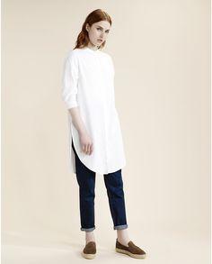 Selected Femme White 3/4 Kaftan Shift Dress