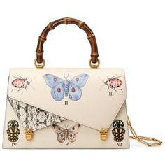 Women's Gucci Medium Linea P Butterfly Painted Leather & Genuine Snakeskin Top Handle Satchel