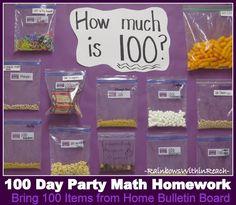 100 Day Math Homework Bulletin Board