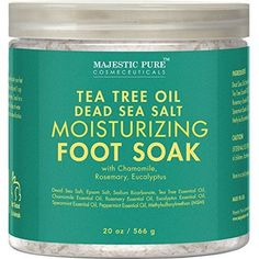 Majestic Pure Tea Tree Essential Oil Foot Soak with Epsom Salt 20 oz Fights Toenail Foot Fungus Soothes Tired Aching Feet Helps Soften Corns Calluses *** Learn more by visiting the image link. (This is an affiliate link) Spearmint Essential Oil, Tea Tree Essential Oil, Essential Oils, Homemade Foot Soaks, Foot Soak Recipe, Organic Tea Tree Oil, Toenail Fungus Treatment, Epsom Salt, Toe Nails