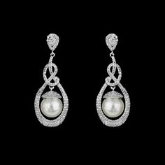 Sterling Silver CZ and Pearl Wedding Earrings - Affordable Elegance Bridal -