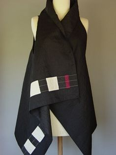 Princess LIne Lapel Vest in Black with 3 Silk Accent Stripes
