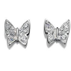 VAVOO Pave Butterfly Sterling Silver Stud Earrings