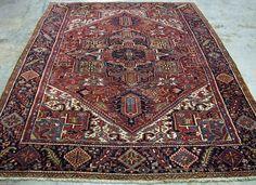 9 x 12 Antique PERSIAN HERIZ TRIBAL Hand Knotted Wool RUST NAVY Oriental Rug #PersianHerizTribalGeometric