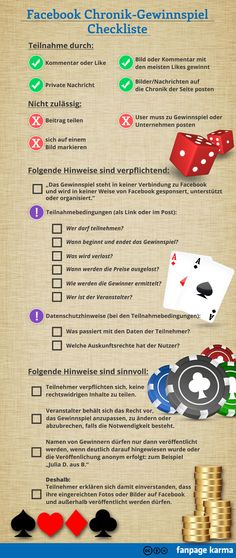 Checkliste Facebook Gewinnspiele. #Infografik @Fanpage Karma Immobilienmakler in Hannover: arthax-immobilien.de