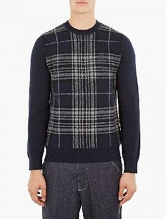 Comme Des Garcons Shirt Navy Plaid Wool Sweater The COMME des GARCONS Plaid Wool Sweater for AW16, seen here in navy. - - - Crafted from a premium wool-blend, this warm sweater from COMME des GARCONS ever-popular SHIRT line features a traditional p http://www.MightGet.com/january-2017-13/comme-des-garcons-shirt-navy-plaid-wool-sweater.asp