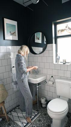 The Frugality House Interiors update: Bathroom. Black and white bathroom inspiration ideas. Bathroom Windows, Bathroom Floor Tiles, Mirror Bathroom, Wall Tiles, Tiled Bathrooms, Tile Mirror, Bathroom Plumbing, Bathroom Vanities, Tile Floor