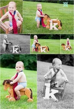 Use the baby's initial for their first birthday pictures, baby wearing dad's tie, 1 year photos, outdoor first birthday pictures, boy first birthday photo shoot, baby in rocking chair, baby with toy horse   Kairos Photography - St. Louis, MO children's and family
